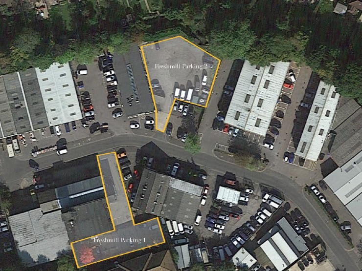 Delta House, Bridge Road Industrial Estate, Haywards Heath, parking aerial view